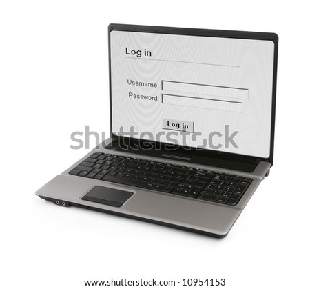 wide notebook with log in screen on white, gentle natural shadow in front, photo inside is my property