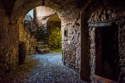 Wide-open aperture shot of the undergrounds of Italian city Dolceaqua