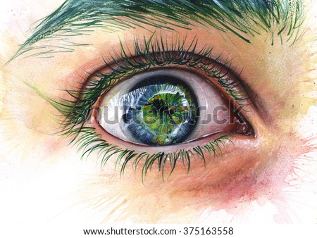 Wide open eye expressive illustration. Greenpeace, world, earth, nature concept. Traditional acrylic painting. Unique surreal watercolor style