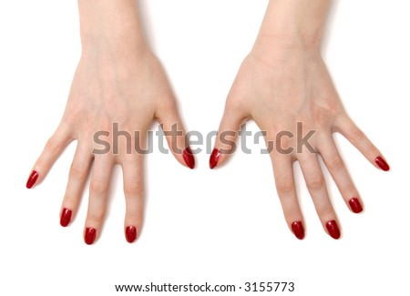Wide open woman hands. On white with shadows.