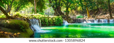 Wide panorama beautiful fresh green nature scenic landscape waterfall in deep tropical jungle rain forest, Famous landmark outdoor travel Saraburi Thailand, Spring background, Tourism destination Asia #1305896824