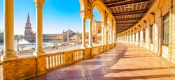 Wide panorama of Plaza de Espana (Spanish Square) in Sevilla old town, Spain travel photo. Most popular touristic attraction place in Sevilla.
