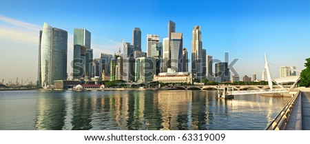 Wide Panorama of Singapore City