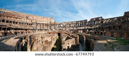 Wide panorama of the Colosseum (Coliseum) in Rome - stock photo