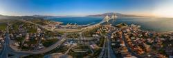 Wide panorama of world famous cable suspension bridge of Rio - Antirio Harilaos Trikoupis, crossing Corinthian Gulf, mainland Greece to Peloponnese, Patras