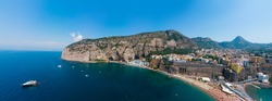 Wide panorama. Sorrento coast, Aerial view of the Meta bay. One of the most expensive resorts. beautiful Italy landscape. Sea, luxury boats, mountain tourist city, Vacation and travel. Summer day
