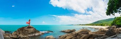 Wide panorama traveler woman in dress stand on rock joy nature scenic landscape Sichon beach, Panoramic view tourist travel thailand summer holiday vacation, Tourism beautiful destinations place Asia