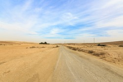 Wide panorama with dirt road in Negev desert and bushes near horizon