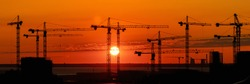 Wide panoramic industrial landscape of a many  of construction tower cranes against a flame bright red and orange sunset.