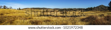 Wide Panoramic Landscape Scenic View of Alpine Meadows and Natural Grassland in Cuyamaca Rancho State Park east San Diego County on a sunny winter day ストックフォト ©