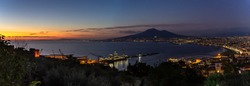 Wide panoramic view at sunset of Castellammare di Stabia, Mount Vesuvius and the Gulf of Naples, Campania, Italy
