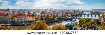 Wide panoramic view over the cityscape of Prague, Czech Republic, with all major tourist attractions along the Vltava river on a sunny day Foto stock ©