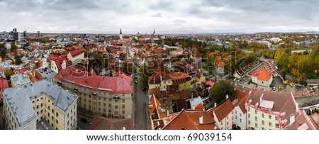 Wide panoramic view to capital of baltic country estonia medieval city of tallinn