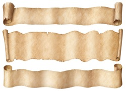 Wide parchment scrolls or old paper banners set isolated on white