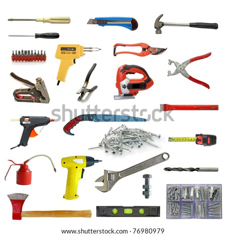 wide range of tools on white