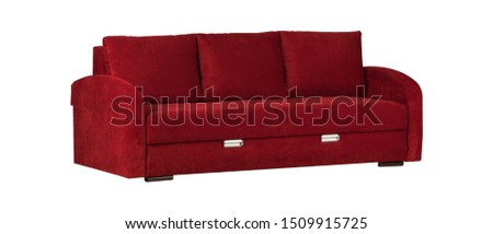 Wide red sofa with cushion isolated