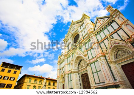 Wide Santa Croce basilica in Florence, Italy