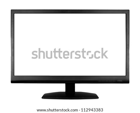 Wide screen high definition LCD monitor isolated on white background