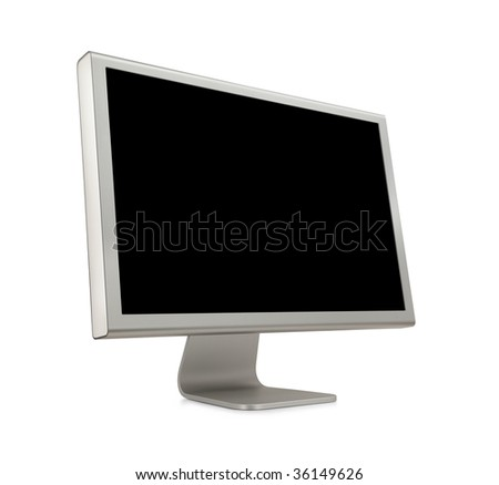 Wide Screen LCD (liquid-crystal display) computer monitor with blank (black) screen. Isolated on white background.