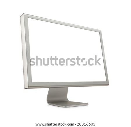 Wide Screen LCD (liquid-crystal display) computer monitor with blank (white) screen. Isolated on white background.