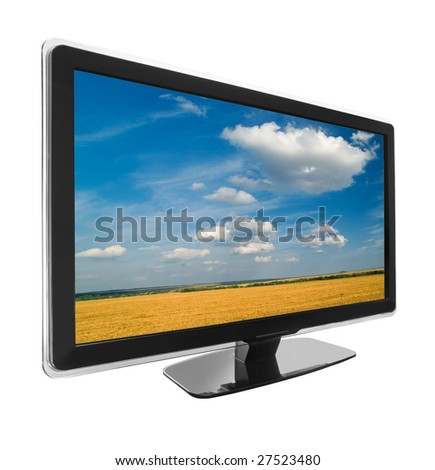 wide screen tv display with landscape isolated on white