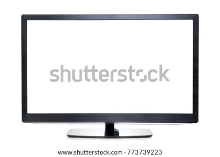 Wide screen TV or monitor isolated on white, copy space on the screen. Clipping path included #773739223