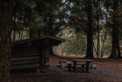 Wide Shot of a Brown Shelter Cabin a Bench and a Campfire in the Dark Deep Pine Forest somewhere in Scandinavia