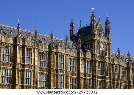 Wide shot of Houses of Parliament in London England.