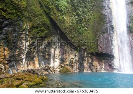 Wide Shot of Las Gemelas Waterfall in Bajos del Toro, Costa Rica
