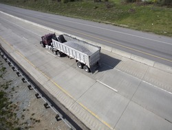 Wide Shot of Semi with Load of Gravel