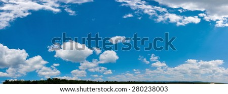 Wide sky panorama with scattered cumulus clouds - Shutterstock ID 280238003