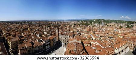 Wide top-down panorama of beautiful Italian city Verona