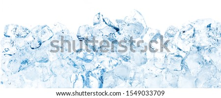 Wide translucent blue ice cubes background.