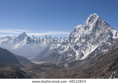 Wide valley surrounded by high mountain peaks in the Himalaya Mountains of Nepal. Most prominent mountain Arakam Tse - 6423m.