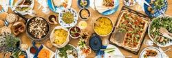 Wide variety of vegetarian food presented on the communal table