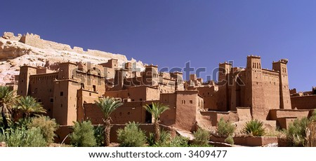 Wide view of Ait Benhaddou in Morocco.Classified Monument by Unesco.Panoramic picture,not a crop.