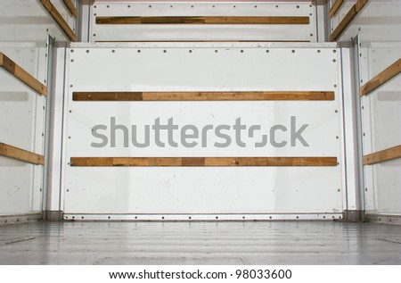 Wide view of an empty cargo truck.