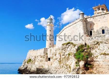 Wide view of El Morro castle in Havana, Cuba