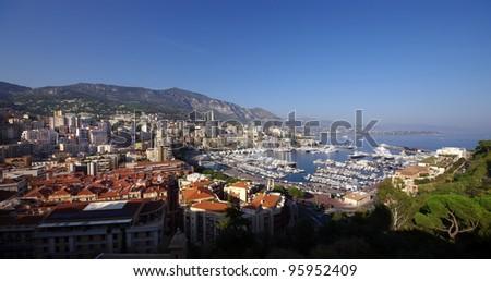 wide view of Hercules port, Monte Carlo, Monaco