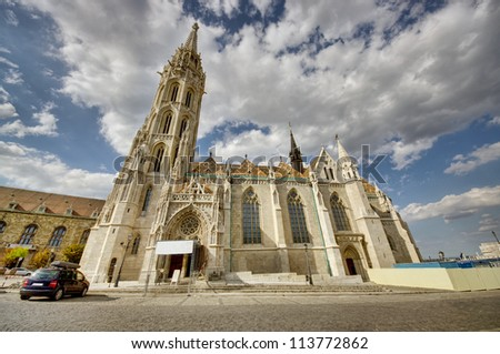 wide view of Matthias Church in Budapest, Hungary