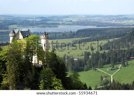 Wide view of Neuschwanstein Castle and the valley, Bavaria, Germany.