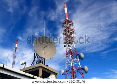 Wide view of several kind of communication antennas and a red and white tower against beautiful deep blue sky with some white clouds
