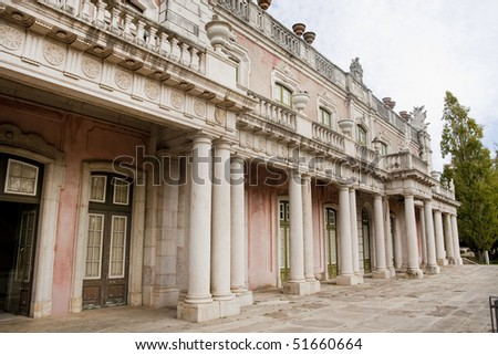 Wide view of the beautiful Queluz Palace.