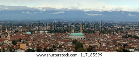 wide view of the city of Vicenza with snow-capped mountains