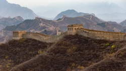 Wide view of the great wall of China demonstrating its vast reach