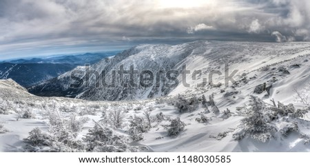 Wide view of the snow covered Tuckerman ravine in winter, Mount Washington, New Hampshire, USA