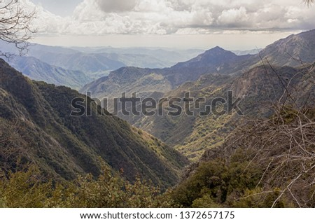 Wide view on mountain ranges. Eleven Ranges overlook in the Sequoia National Park in California, USA #1372657175