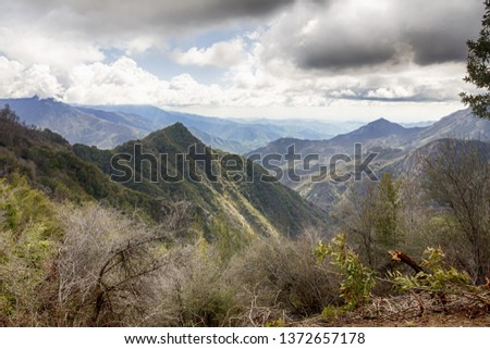 Wide view on mountain ranges. Eleven Ranges overlook in the Sequoia National Park in California, USA #1372657178