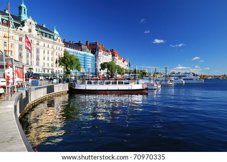 Wide view on the harbor part of Stockholm city. Sweden