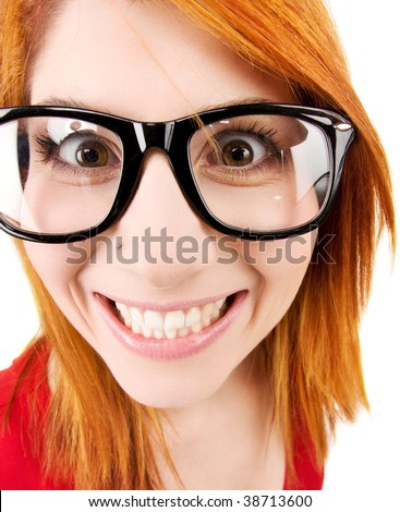 wideangle distorted picture of funny female face